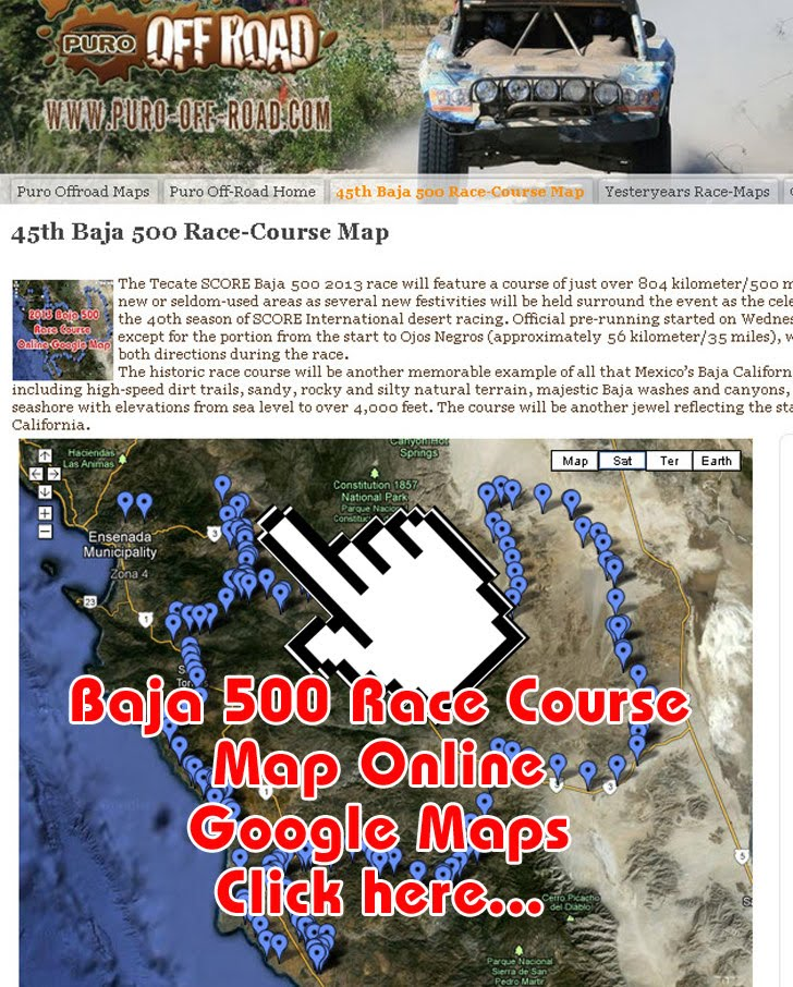 Tecate SCORE Baja 500 Race Map 2013